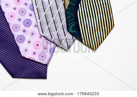 Neckties Lie Like A Fan Isolated