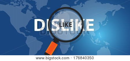 like dislike concept of thinking analysis world wide international business network vector