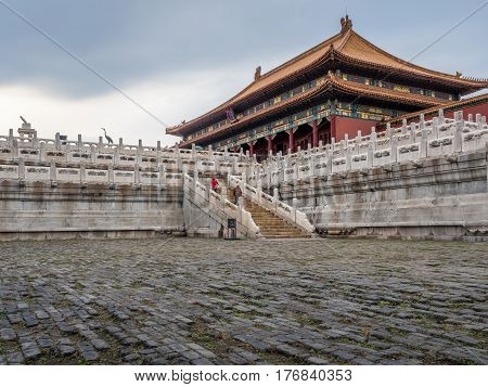 Beijing, China - Oct 30, 2016: Hall of Supreme Harmony (Taihedian); front view. Forbidden City (Gu Gong, Palace Museum). Where emperors received high officials and exercised their rule over the nation.