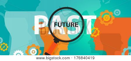 future past now concept of thinking planing tomorrow analysis mindset thoughts vector
