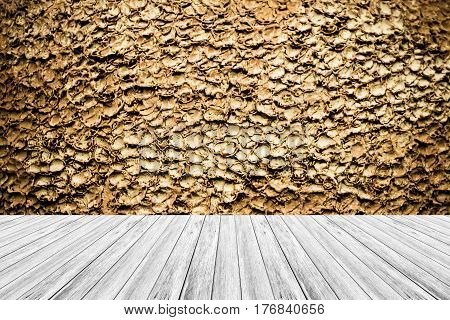 Wood Terrace And Stone Wall Texture Vintage Style