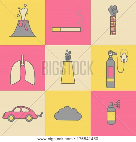 Air pollution icon set. Stock vector illustration of emissions from cars factory household spray volcano smoking.