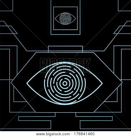 Iris recognition for biometric identification with an eye on high-tech dark background. Stock vector concept for computer authentication data protection.