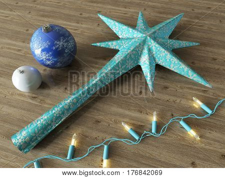 3d render of a blue star and Christmas decoration with blue lights