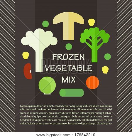 Frozen vegetable mix. Stock vector illustration of sliced veggies . Healthy food. Flat style.