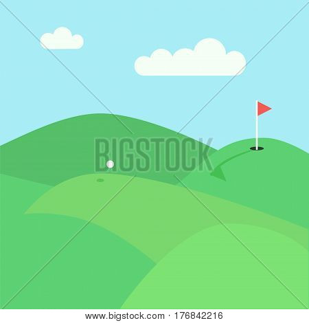 Golf lawn view. Stock vector illustration of green hills and meadows with a flying white ball and red flag in a hole.