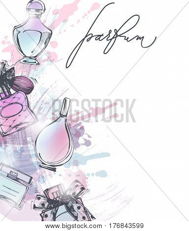 Beautiful perfume bottle. Beautiful and fashion background. Vector illustration