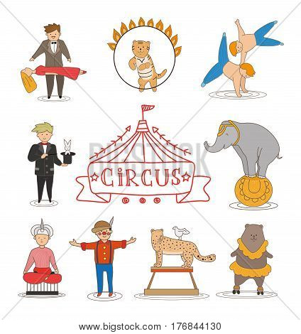 Circus line art design collection with carnival fun fair and icons set. Vintage doodle style