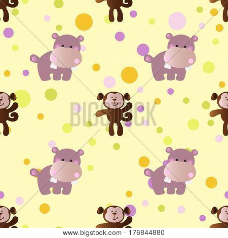 seamless pattern with cartoon cute toy baby behemoth monkey and Circles on a light yellow background