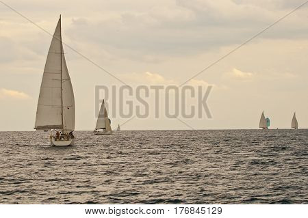 Yacht regatta in Turkey Mediterranean sea in autumn