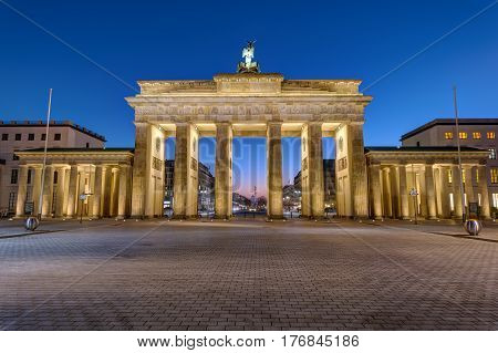 The back of the Brandenburger Tor in Berlin at night