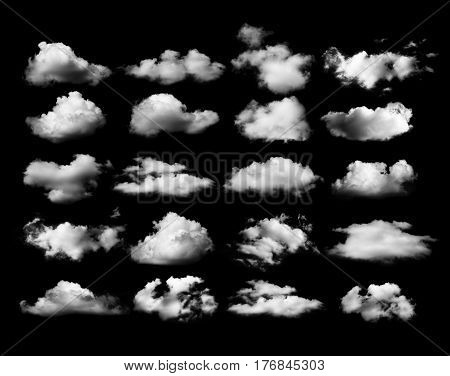 CloseUp Clouds on black background. sky background