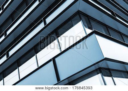 Blue Building Facade Abstract Fragment