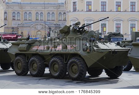 SAINT PETERSBURG, RUSSIA - MAY 05, 2015: The BTR-82A before the rehearsal of parade in honor of Victory Day closeup