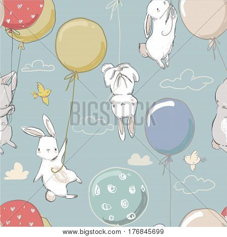 seamless pattern with cute little hares and balloons