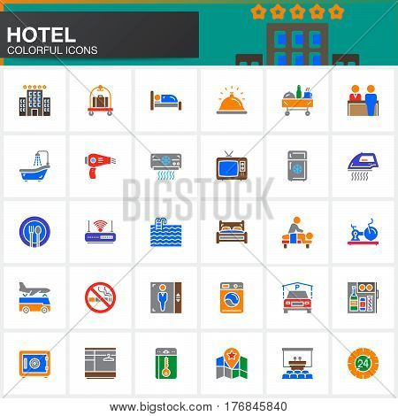 Hotel services and facilities vector icons set modern solid symbol collection filled colorful pictogram pack. Signs logo illustration. Set includes icons as hotel bed reception safe pool key