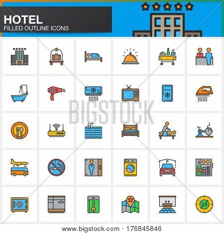 Hotel services and facilities line icons set filled outline vector symbol collection linear colorful pictogram pack. Signs logo. Set includes icons as hotel bed reception safe tv pool key