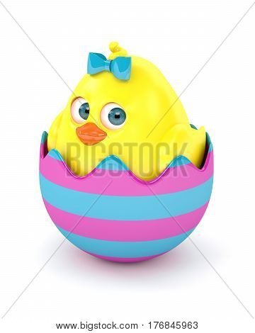 3D Render Of Easter Chick In Egg Shell
