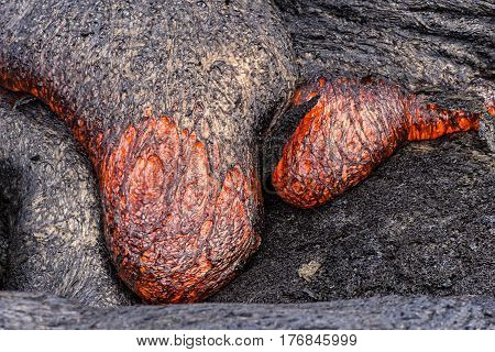 Lava flowing near Puuoo Crater Volcanoes National Park Big Island Hawaii