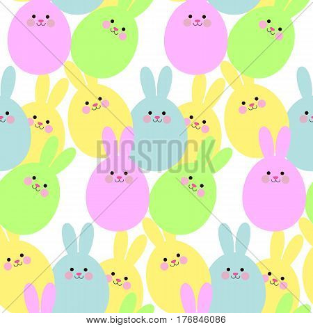 Little cute hare. Vector flat illustration for print. Abstract bunny.Seamless pattern with cute abstract bunny.