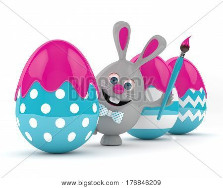3D Rendering Of Easter Bunny With Easter Eggs