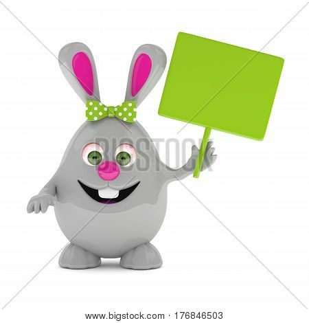3D Rendering Of Easter Bunny With Empty Board
