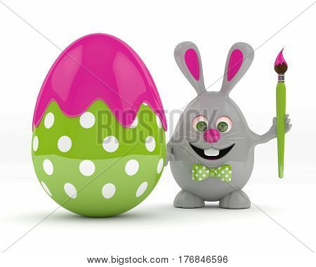 3D Rendering Of Easter Bunny With Painted Egg
