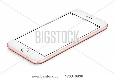 Pink mobile phone mock-up clockwise rotated lies on the surface with blank screen isolated on white background. Use this smartphone mock-up for your web project or design presentation.