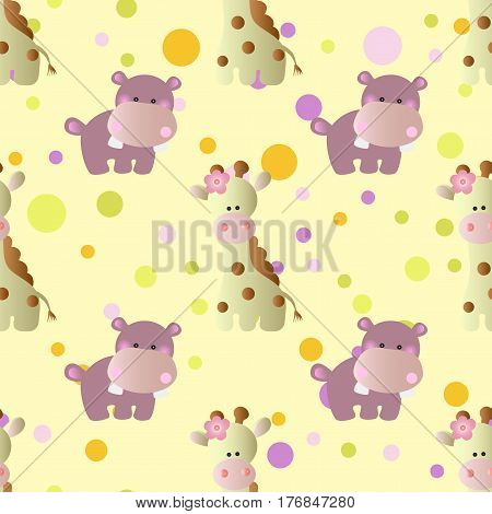 seamless pattern with cartoon cute toy baby behemoth giraffe and Circles on a light yellow background