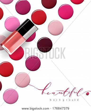 Colorful dots nail Polish. . Beauty and cosmetics background. Isolated on white. Template Vector.