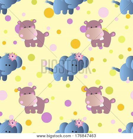 seamless pattern with cartoon cute toy baby behemoth elephant and Circles on a light yellow background