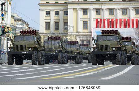 SAINT PETERSBURG, RUSSIA - MAY 05, 2015: Column BM-21-1 (MLRS