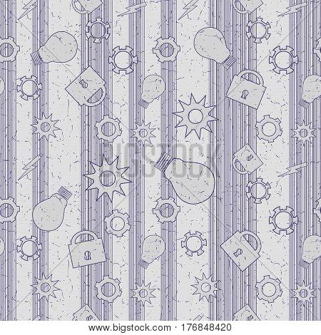 Abstract grunge technology seamless pattern. Vector illustration