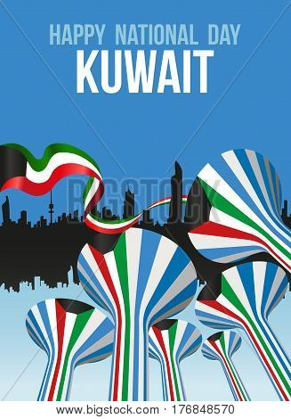 Water Towers Landmarks Decorated With The National Flag Of Kuwait On The Occasion Of The National Day