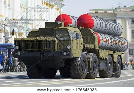 SAINT PETERSBURG, RUSSIA - MAY 05, 2015: Launcher s-300PM at the rehearsal of parade in honor of Victory Day in St. Petersburg