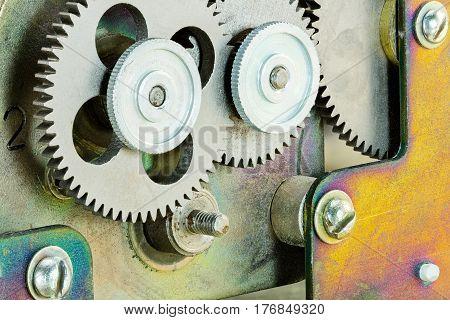 Industrial Mechanism With Mechanical Metal Cogwheels