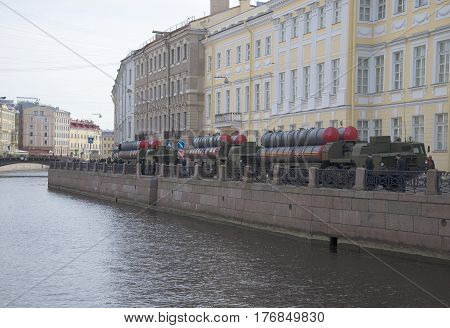 SAINT PETERSBURG, RUSSIA - MAY 05, 2015: A column of rocket launchers air defense missile systems s-300PM on the embankment of the Moika river before the rehearsal of parade in honor of Victory Day in St. Petersburg