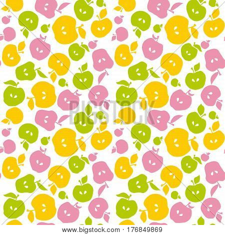 Naive apple fruit seamless pattern for fabric, background, wrapping paper. repeatable surface design for kitchen in simple flat cute style