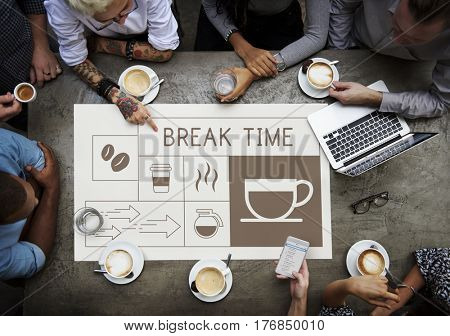 People drinking coffee with Illustration of coffee shop advertisement