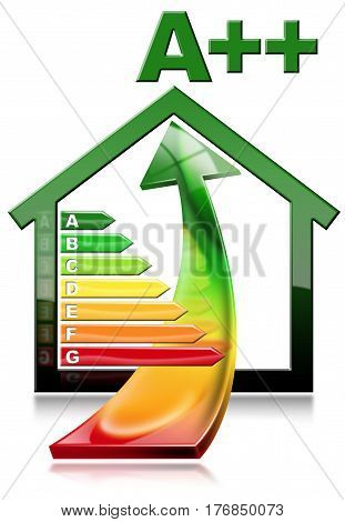 3D illustration of a symbol in the shape of house with energy efficiency rating and an arrow with energy saving. Isolated on white background