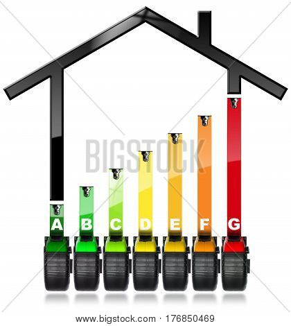 Energy Efficiency Rating - Symbol (3D illustration) with seven tape measures (work tools - photo) and a house isolated on white background