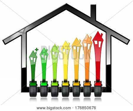 Energy Efficiency Rating - Symbol with seven tape measures in the shape of house (photo and 3D illustration). Isolated on white background