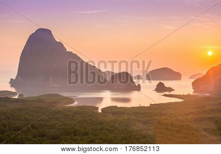 Amazing view and colorful sunrise at Sa Met Nang She in Phang Nga bay, Thailand