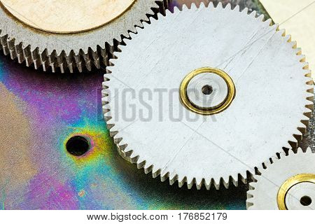 Cogs And Wheels Detail. Gear Mechanism. Macro.