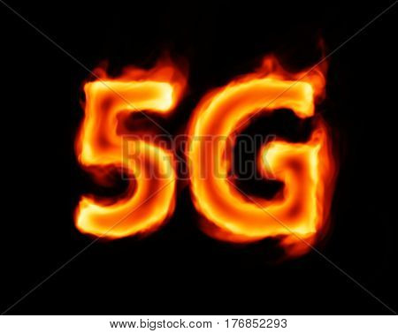 5g (flaming concept inscription on black background)