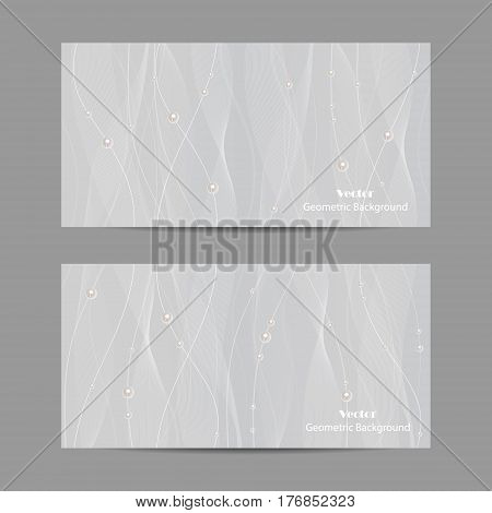 Set of horizontal banners. Beautiful white tulle with pearls on grey background