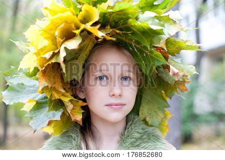 beautiful caucasian girl portrait in fall maple leaves chaplet