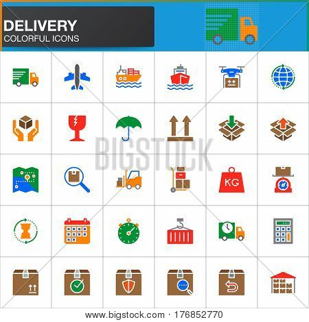 Delivery logistics vector icons set modern solid symbol collection filled colorful pictogram pack. Signs logo illustration. Set includes icons as shipping transportation tracking parcel weight