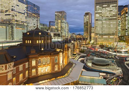 Tokyo central train station in city downtown aerial view Japan