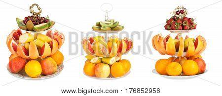 Set Of Large Amount Of Fresh Fruit On A Isolated White Background